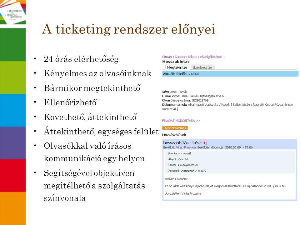A ticketing rendszer előnyei
