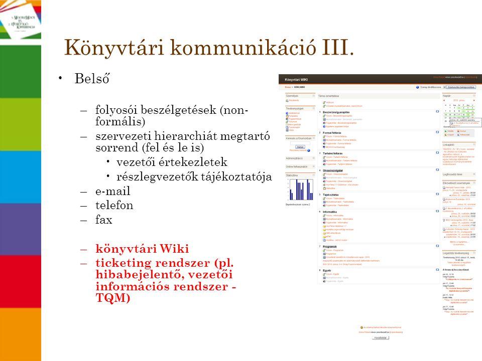 Könyvtári kommunikáció III.