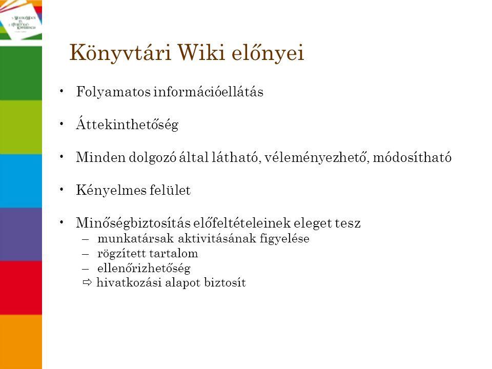 Könyvtári Wiki előnyei