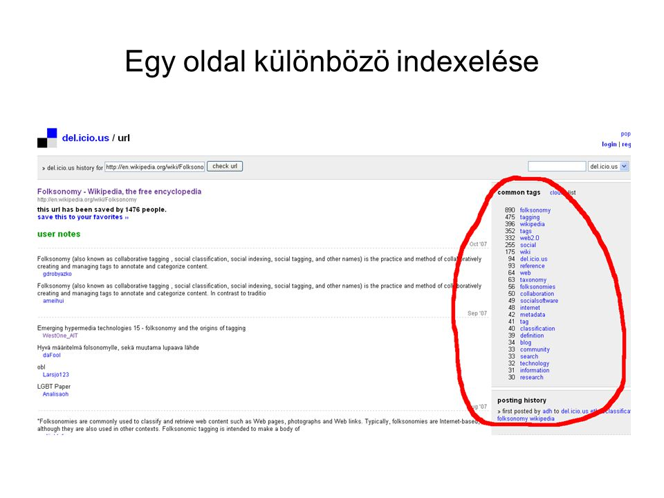 Egy oldal különbözö indexelése