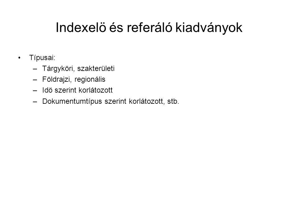 Indexelö és referáló kiadványok