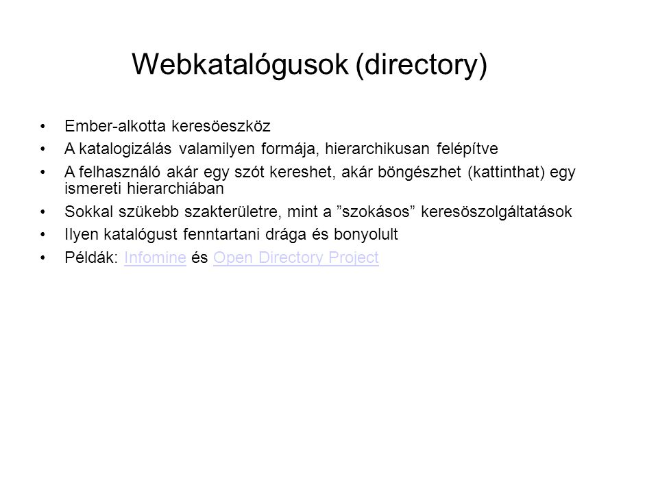 Webkatalógusok (directory)
