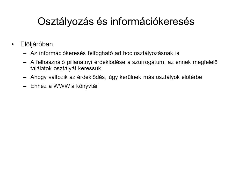 Osztályozás és információkeresés