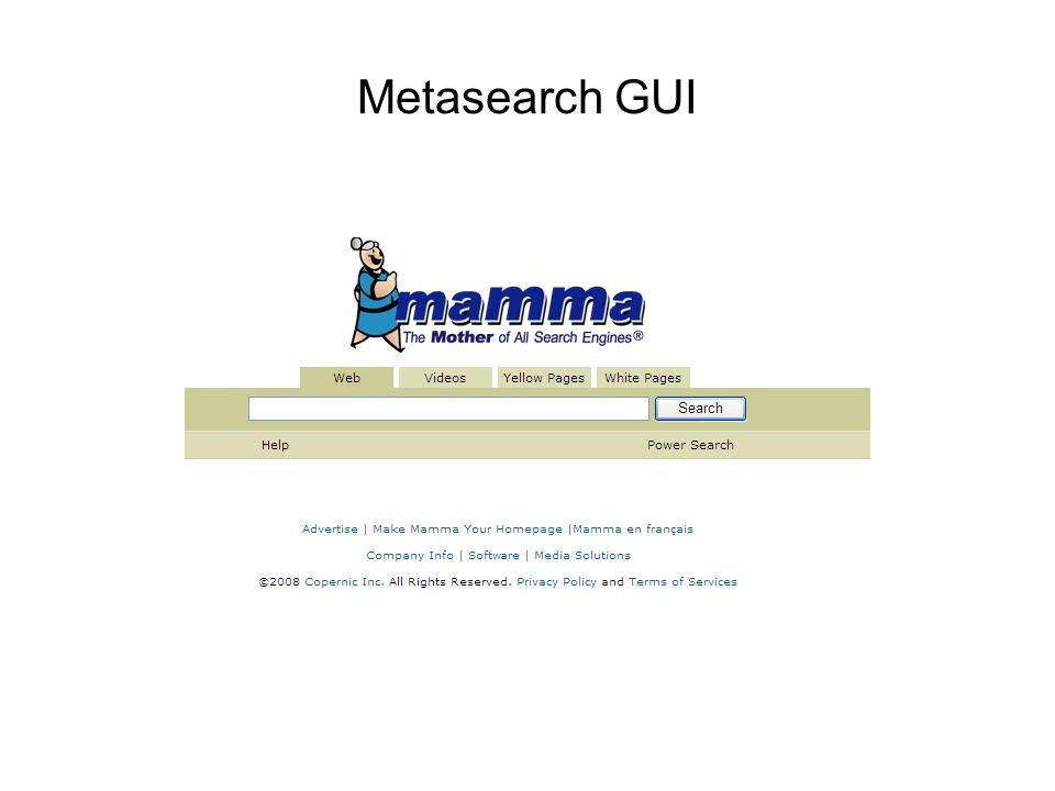 Metasearch GUI
