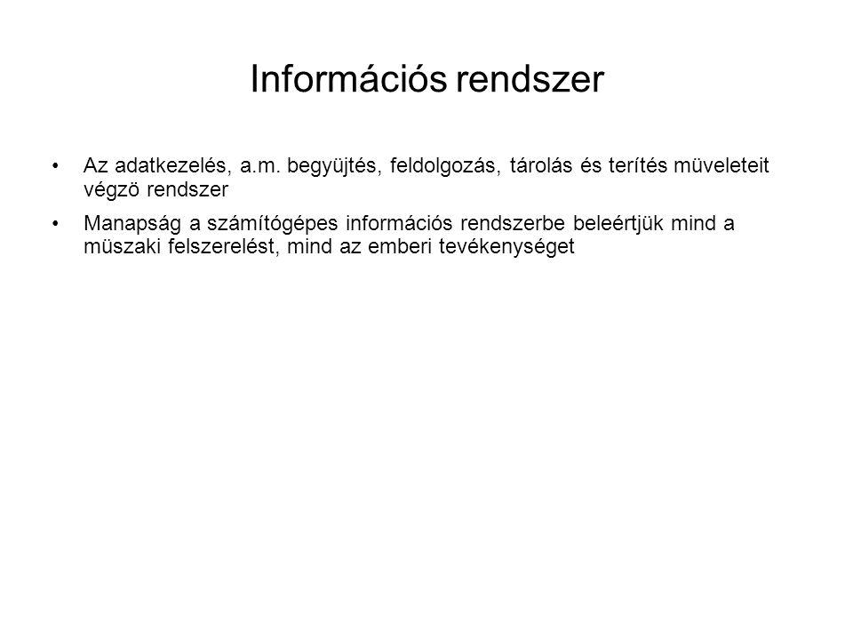 Információs rendszer Az adatkezelés, a.m. begyüjtés, feldolgozás, tárolás és terítés müveleteit végzö rendszer.