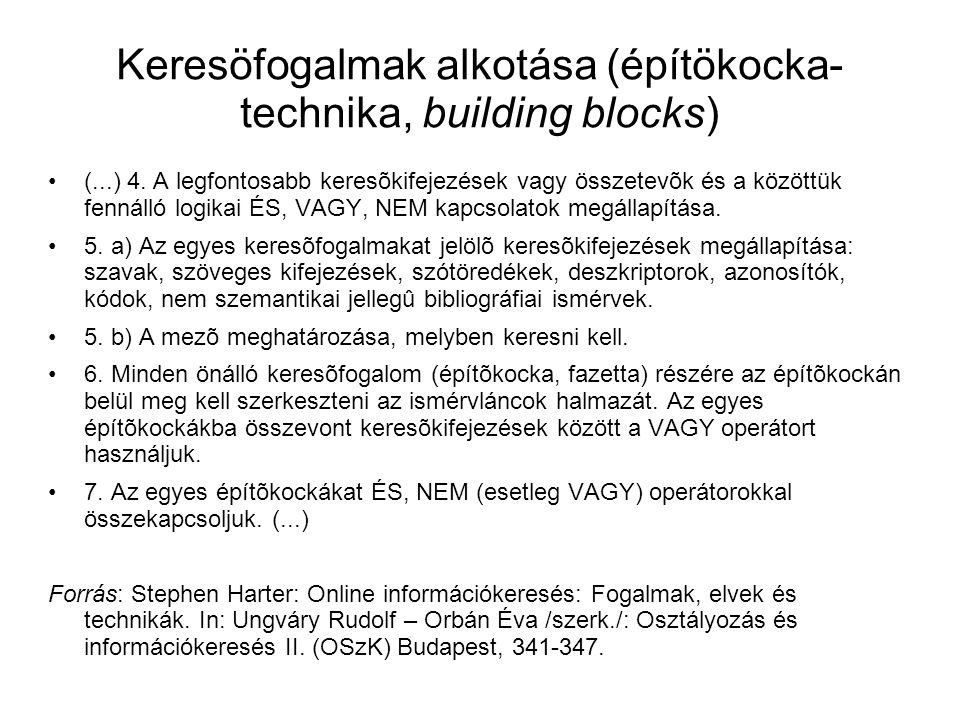 Keresöfogalmak alkotása (építökocka-technika, building blocks)