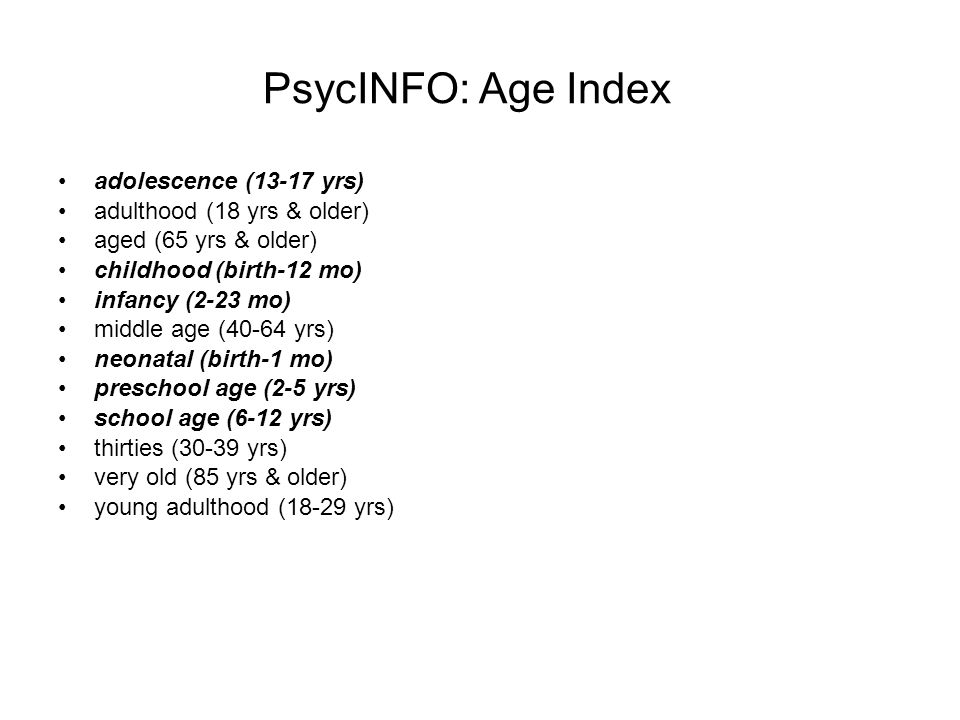 PsycINFO: Age Index adolescence (13-17 yrs)