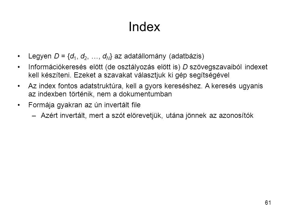 Index Legyen D = {d1, d2, …, dN} az adatállomány (adatbázis)