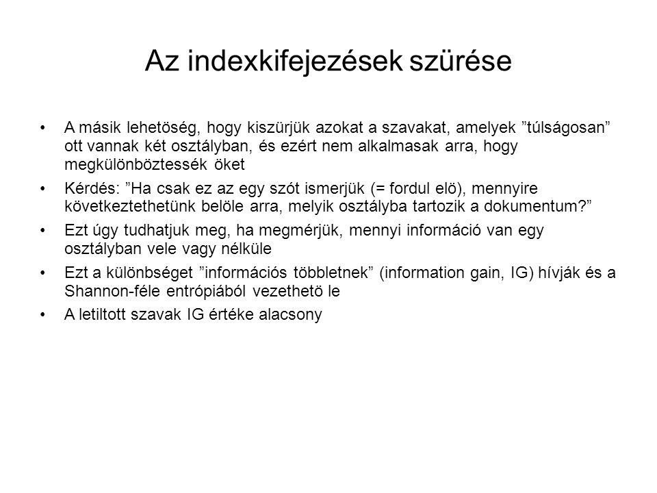 Az indexkifejezések szürése