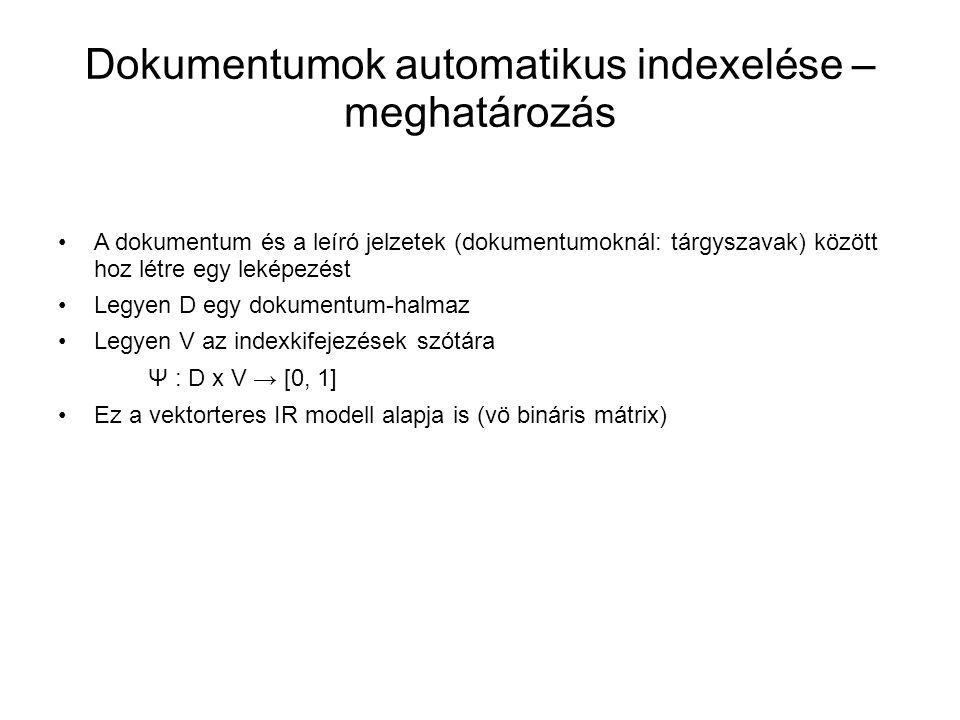 Dokumentumok automatikus indexelése – meghatározás