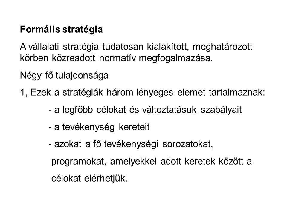 Formális stratégia A vállalati stratégia tudatosan kialakított, meghatározott körben közreadott normatív megfogalmazása.