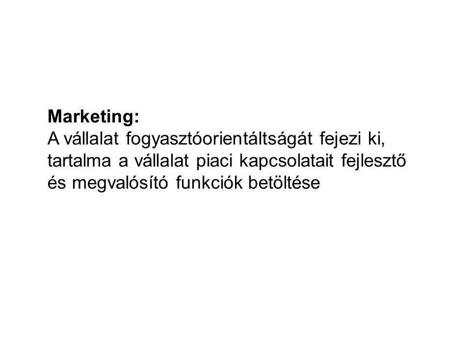 Marketing: A vállalat fogyasztóorientáltságát fejezi ki, tartalma a vállalat piaci kapcsolatait fejlesztő és megvalósító funkciók betöltése.