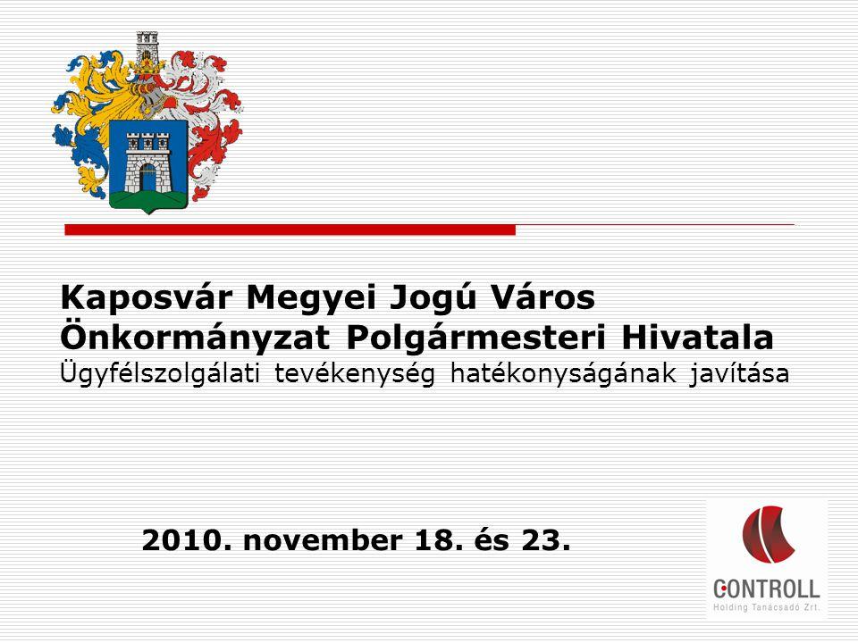 Kaposvár Megyei Jogú Város Önkormányzat Polgármesteri Hivatala Ügyfélszolgálati tevékenység hatékonyságának javítása