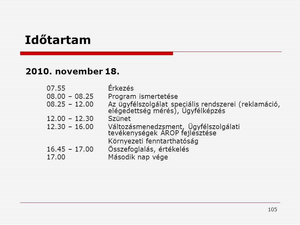 Időtartam 2010. november 18. 07.55 Érkezés