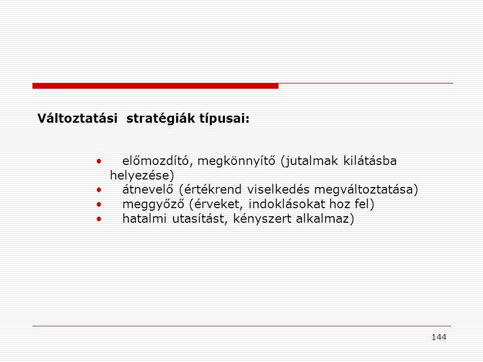 Változtatási stratégiák típusai: