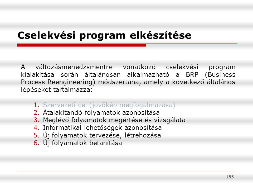 Cselekvési program elkészítése
