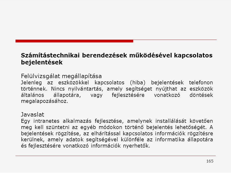 Számítástechnikai berendezések működésével kapcsolatos bejelentések