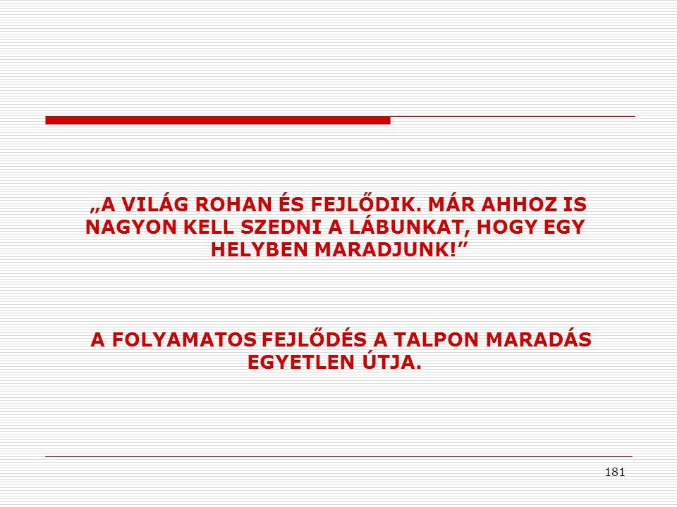 A FOLYAMATOS FEJLŐDÉS A TALPON MARADÁS