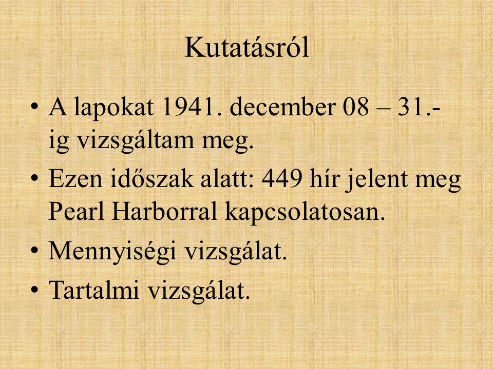 Kutatásról A lapokat 1941. december 08 – 31.- ig vizsgáltam meg.