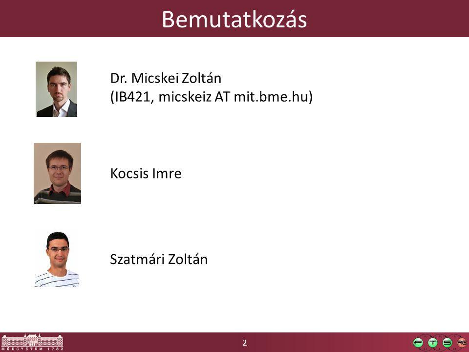 Bemutatkozás Dr. Micskei Zoltán (IB421, micskeiz AT mit.bme.hu)