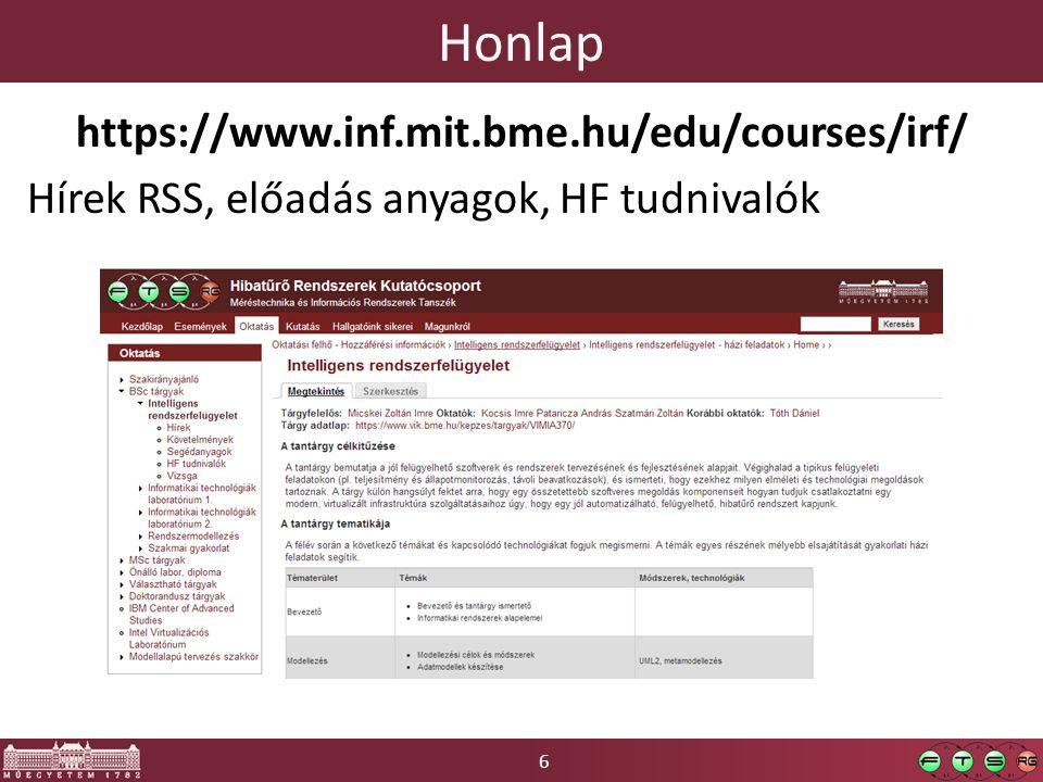Honlap https://www.inf.mit.bme.hu/edu/courses/irf/ Hírek RSS, előadás anyagok, HF tudnivalók