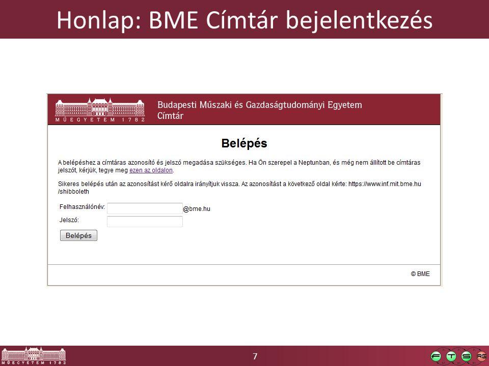 Honlap: BME Címtár bejelentkezés