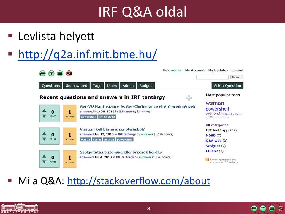 IRF Q&A oldal Levlista helyett http://q2a.inf.mit.bme.hu/