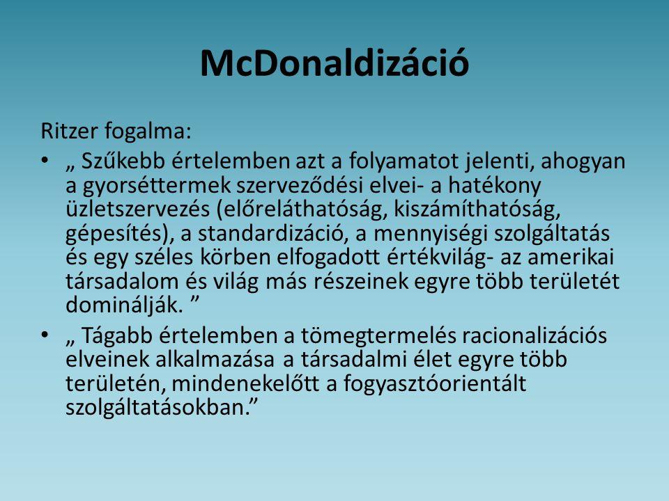 McDonaldizáció Ritzer fogalma:
