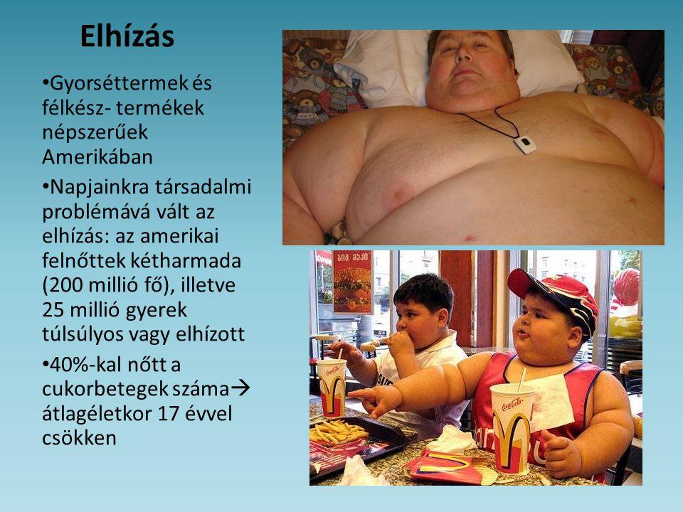 Elhízás Gyorséttermek és félkész- termékek népszerűek Amerikában