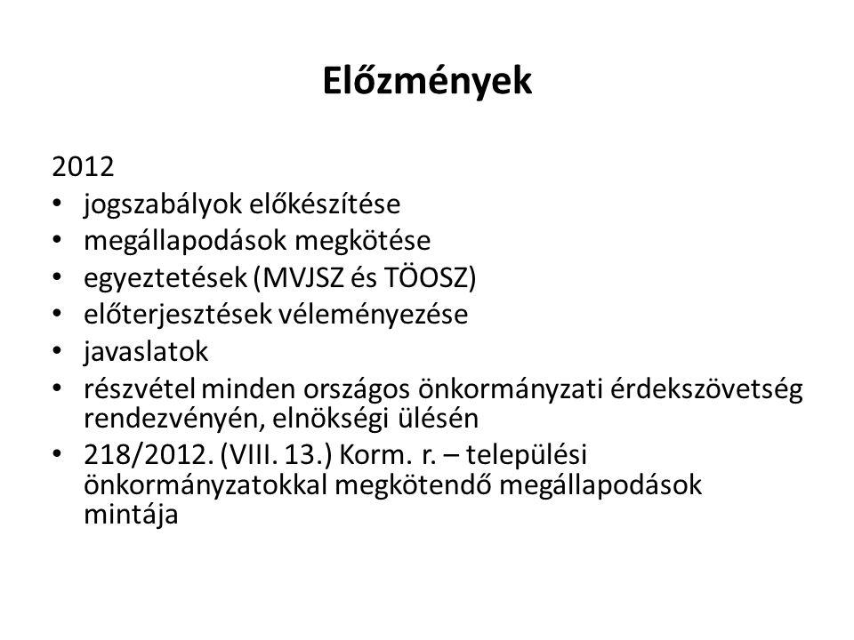 Előzmények 2012 jogszabályok előkészítése megállapodások megkötése