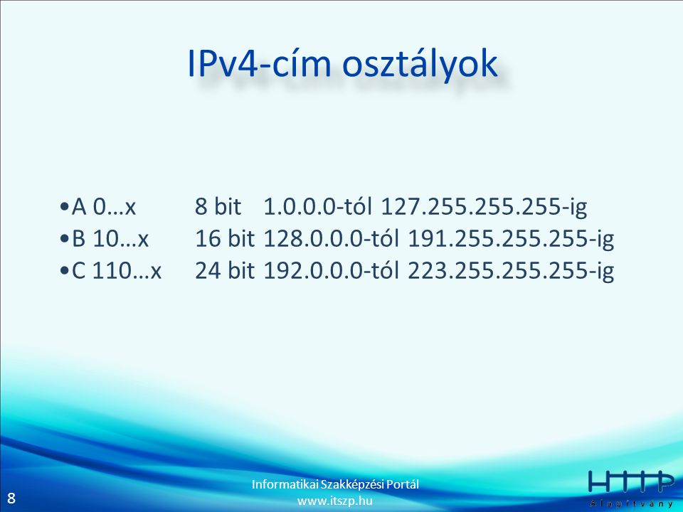IPv4-cím osztályok A 0…x 8 bit 1.0.0.0-tól 127.255.255.255-ig
