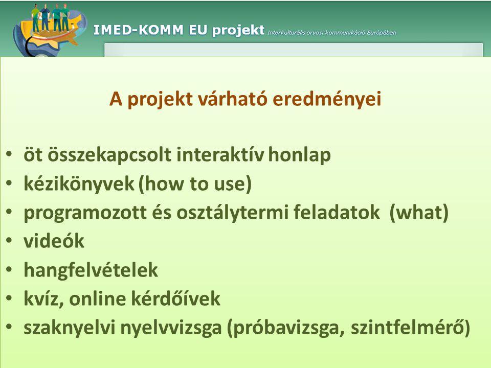 A projekt várható eredményei