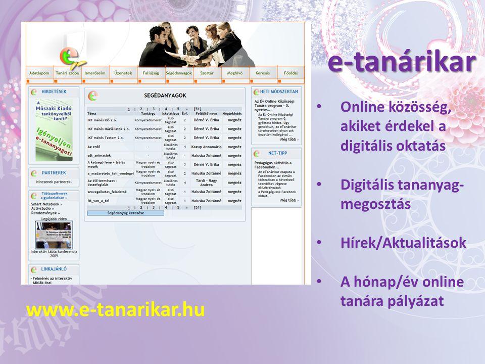 e-tanárikar www.e-tanarikar.hu