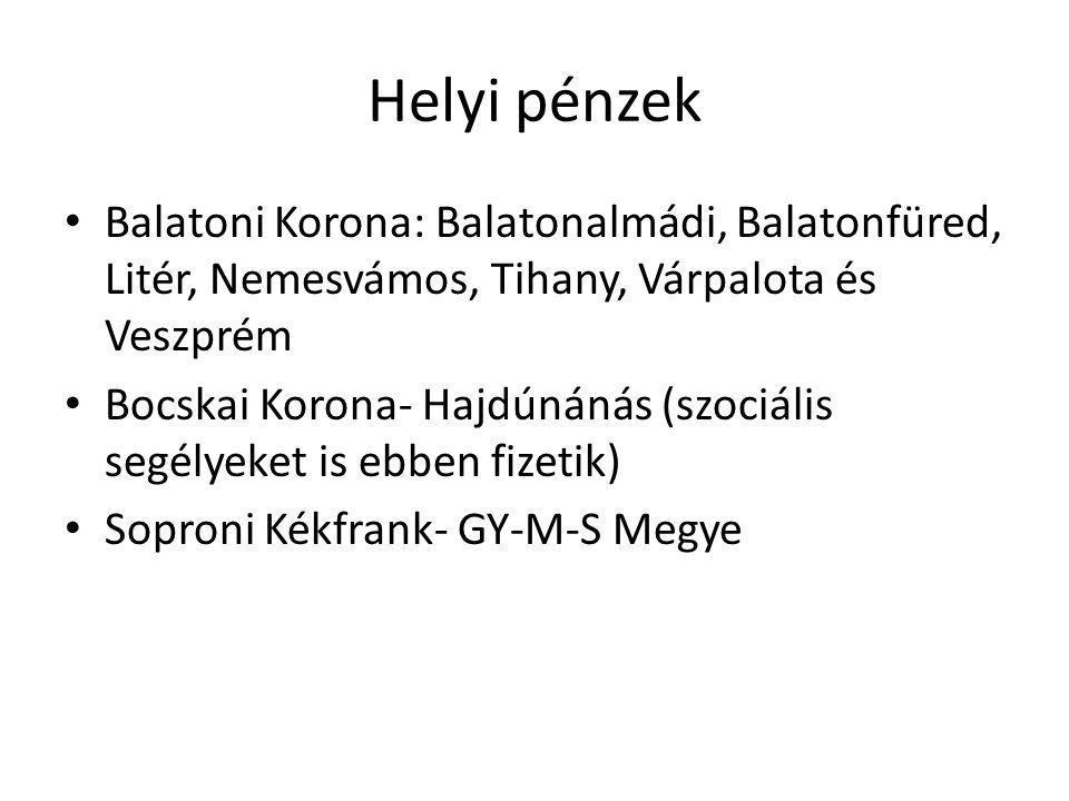 Helyi pénzek Balatoni Korona: Balatonalmádi, Balatonfüred, Litér, Nemesvámos, Tihany, Várpalota és Veszprém.