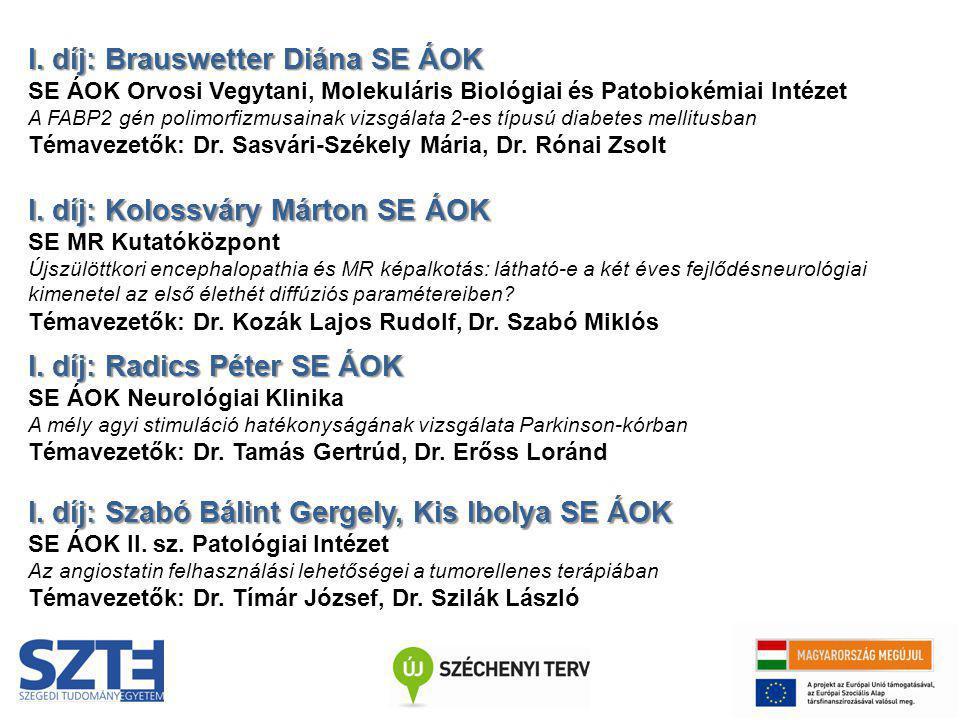 I. díj: Brauswetter Diána SE ÁOK