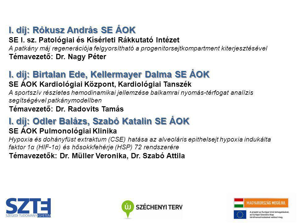 I. díj: Rókusz András SE ÁOK