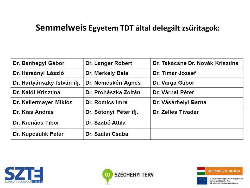 Semmelweis Egyetem TDT által delegált zsűritagok:
