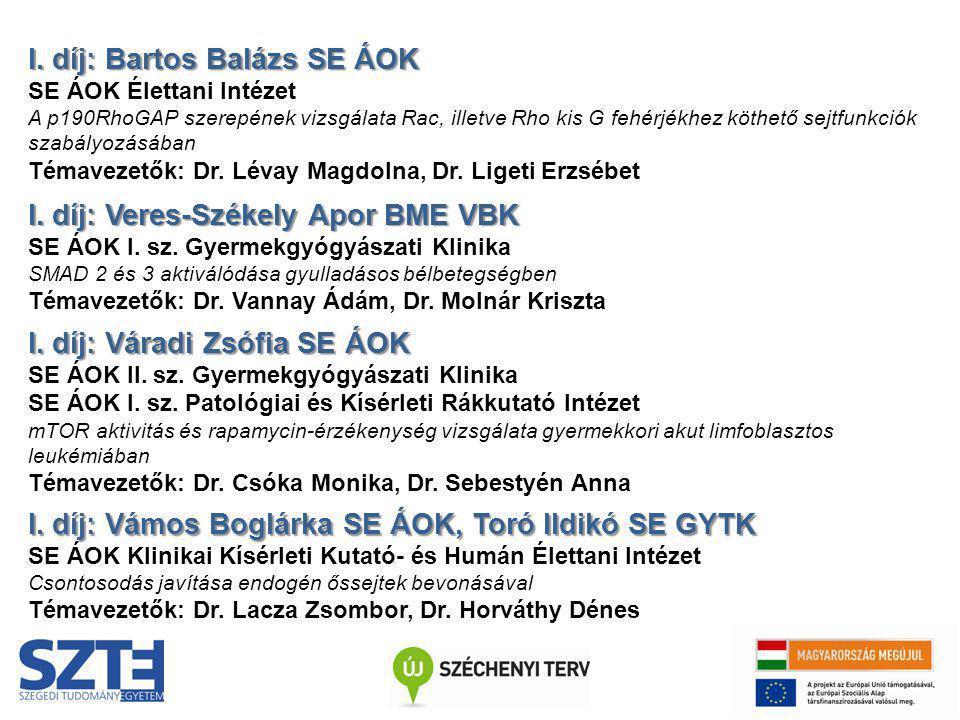 I. díj: Bartos Balázs SE ÁOK