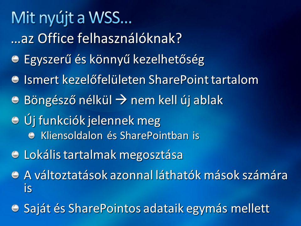 Mit nyújt a WSS... …az Office felhasználóknak