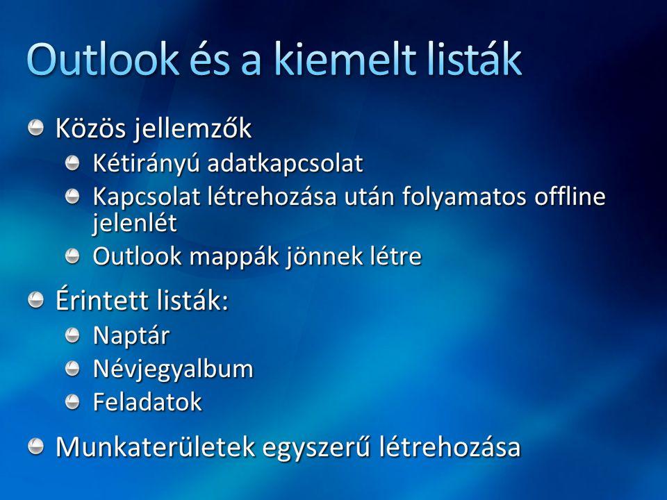 Outlook és a kiemelt listák
