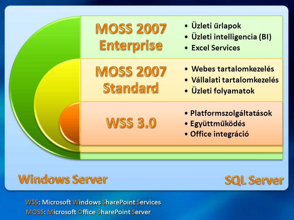 Windows Server SQL Server WSS: Microsoft Windows SharePoint Services