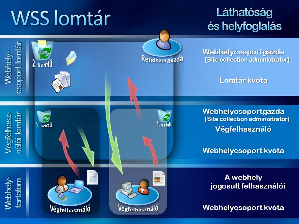 WSS lomtár Láthatóság és helyfoglalás Webhely-csoport lomtár
