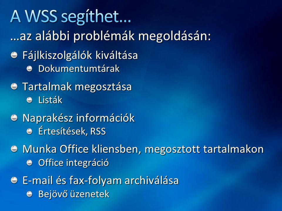 A WSS segíthet… …az alábbi problémák megoldásán: