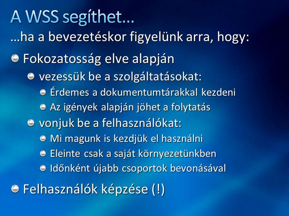 A WSS segíthet… …ha a bevezetéskor figyelünk arra, hogy: