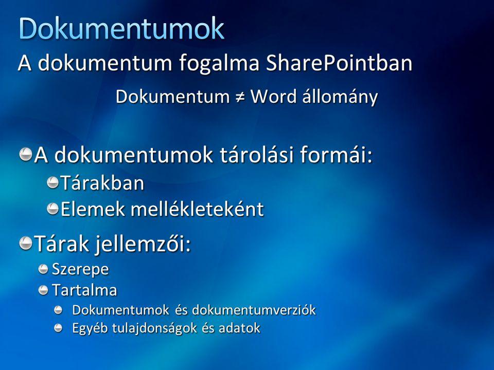 Dokumentum ≠ Word állomány