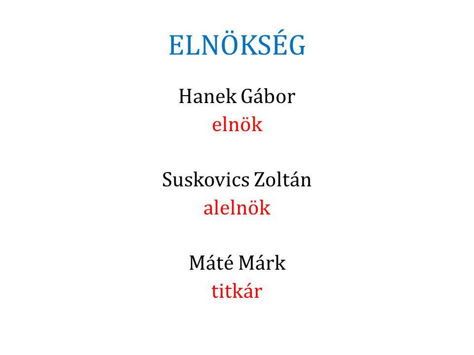 Hanek Gábor elnök Suskovics Zoltán alelnök Máté Márk titkár