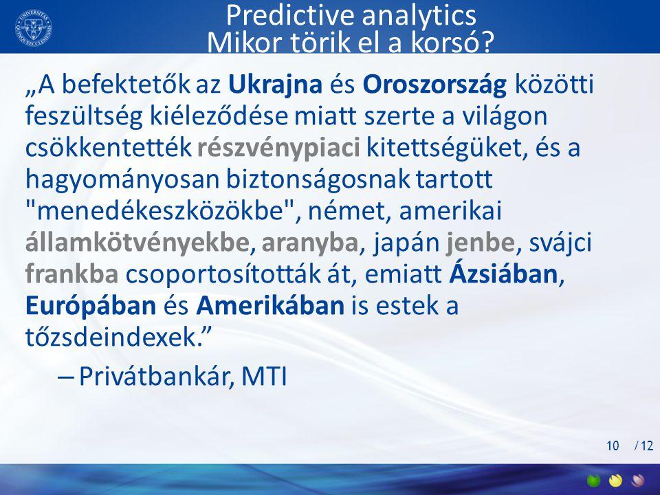 Predictive analytics Mikor törik el a korsó