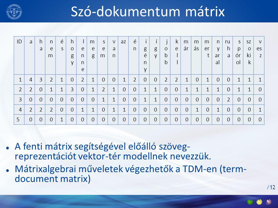 Szó-dokumentum mátrix