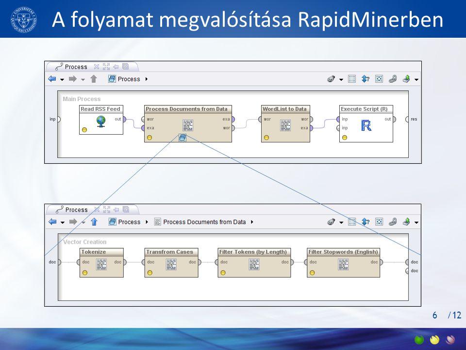A folyamat megvalósítása RapidMinerben