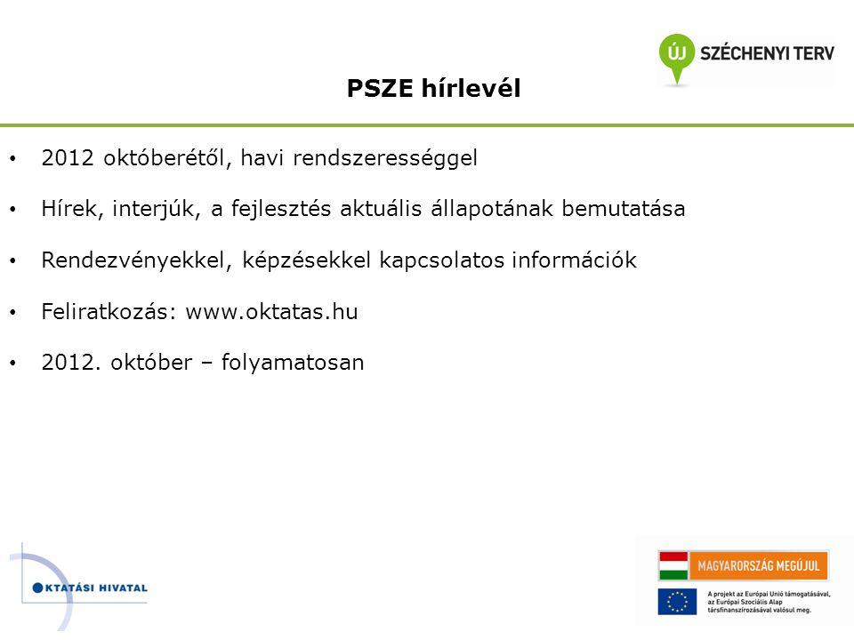 PSZE hírlevél 2012 októberétől, havi rendszerességgel